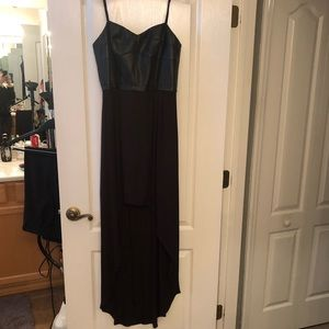 BCBG leather busted high low dress